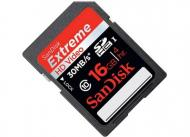 Карта памяти Sandisk 16Gb SD Class 10 HD Video Card eXtreme (SDSDX-016G-X46)