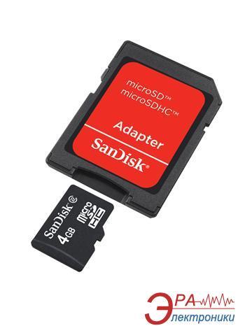 Карта памяти Sandisk 4Gb microSD Class 4 + SD адаптер (SDSDQM-004G-B35A)