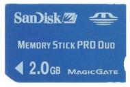 Карта памяти Sandisk 2Gb Memory Stick Pro Duo + адаптер на Memory Stick (SDMSPD-002G-B35)