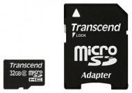 Карта памяти Transcend 32Gb microSD Class 2 + SD адаптер (TS32GUSDHC2)
