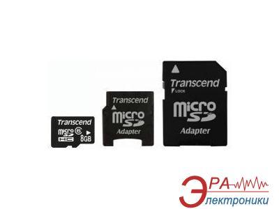 Карта памяти Transcend 8Gb microSD Class 6 + адаптер miniSD/SD (TS8GUSDHC6-2)