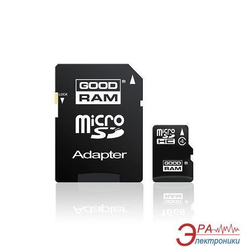 Карта памяти Goodram 16Gb microSD Class 4 + adapter SD (SDU16GHCAGRR9)