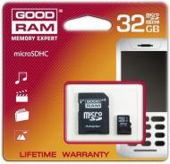 Карта памяти Goodram 32Gb microSD Class 4 + adapter (SDU32GHCAGRR10)
