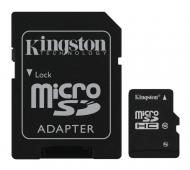 Карта памяти Kingston 8Gb microSD Class 10 + SD адаптер (SDC10G2/8GB)