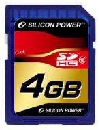 Карта памяти Silicon Power 4Gb SD Class 10 (SP004GBSDH010V10)