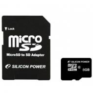 Карта памяти Silicon Power 8Gb microSD Class 10 + adapter (SP008GBSTH010V10-SP)