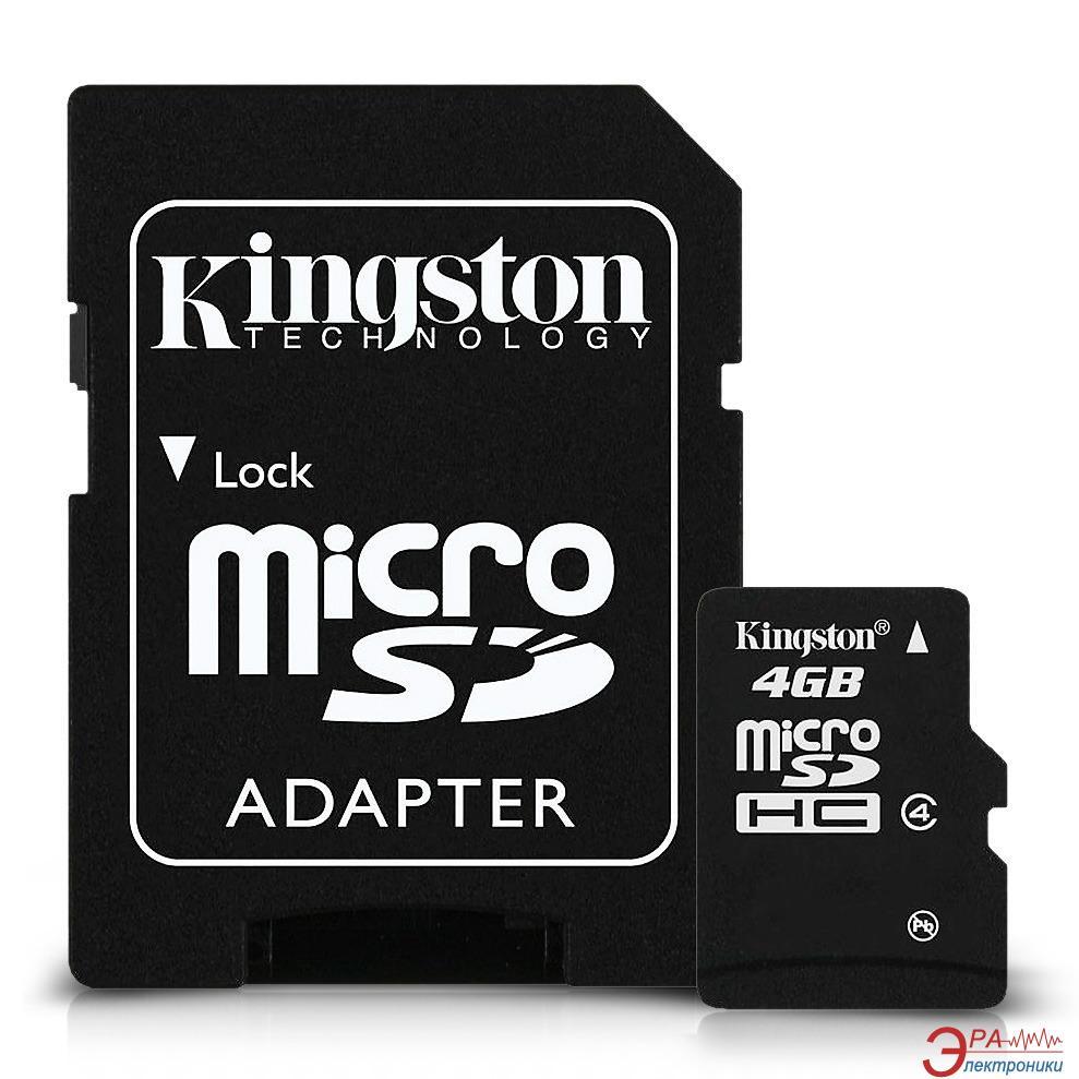 Карта памяти Kingston 4Gb microSD Class 4 +SD адаптер (SDC4/4GB)