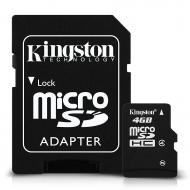Карта памяти Kingston 4Gb microSD Class 4 +SD адаптер (SDC4/4GB)