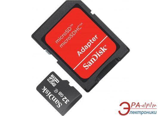 Карта памяти Sandisk 32Gb microSD Class 4 + SD адаптер (SDSDQM-032G-B35A)