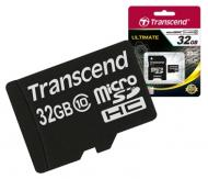 Карта памяти Transcend 32Gb microSD Class 10 + SD адаптер (TS32GUSDHC10)