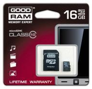 Карта памяти Goodram 16Gb microSD Class 10 + adapter (SDU16GHC10AGRR9)