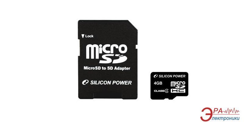 Карта памяти Silicon Power 4Gb microSD Class 4 + адаптер на SD (SP004GBSTH004V10-SP)