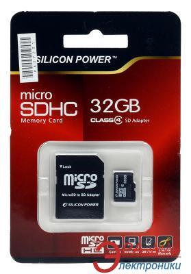 Карта памяти Silicon Power 32Gb microSD Class 4 + адаптер на SD (SP032GBSTH004V10-SP)