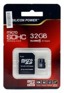 ����� ������ Silicon Power 32Gb microSD Class 4 + ������� �� SD (SP032GBSTH004V10-SP)