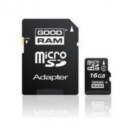 Карта памяти Goodram 16Gb microSD Class 4 + adapter (SDU16GHCAGRR10)