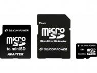 Карта памяти Silicon Power 4Gb microSD Class 4 + 2 adapter (SP004GBSTH004V30)