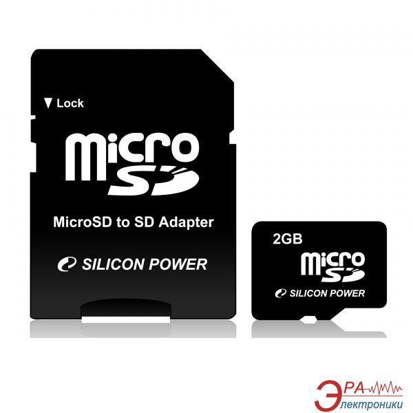 Карта памяти Silicon Power 2Gb microSD + adapter (SP002GBSDT000V10-SP)