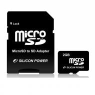 Карта памяти Silicon Power 2Gb microSD + adapter (SP002GBSDT000V10-SP)