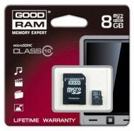 Карта памяти Goodram 8Gb microSD Class 10 + SD адаптер (SDU8GHC10AGRR9)