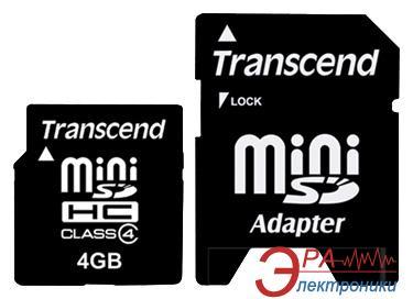 Карта памяти Transcend 4Gb miniSD Class 4 + SD адаптер (TS4GSDMHC4)