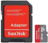 Карта памяти Sandisk 64Gb microSD Class 10 Mobile Ultra + adapter (SDSDQU-064G-U46A)