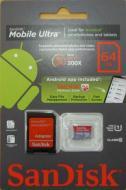 Карта памяти Sandisk 64Gb microSD Class 10 Ultra UHS-I + SD адаптер for Android (SDSDQUA-064G-U46A)