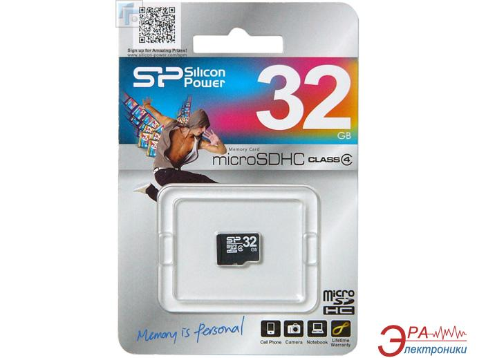 Карта памяти Silicon Power 32Gb microSD Class 4 no adapter (SP032GBSTH004V10)