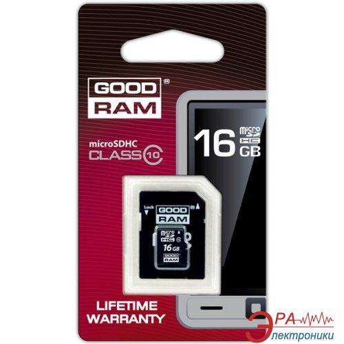 Карта памяти Goodram 16Gb microSD Class 10 + adapter RETAIL 10 (SDU16GHC10AGRR10)