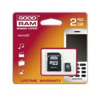 Карта памяти Goodram 2Gb microSD Class 2 + adapter RETAIL 10 (SDU2GAGRR10)