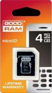 ����� ������ Goodram 4Gb microSD Class 4 + adapter RETAIL 10 (SDU4GHCAGRR10)