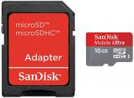 Карта памяти Sandisk 16Gb microSD Class 10 + adapter (SDSDQU-016G-U46A)