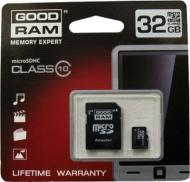 Карта памяти Goodram 32Gb microSD Class 10 + adapter RETAIL 10 (SDU32GHC10AGRR10)