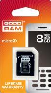 Карта памяти Goodram 8Gb microSD Class 4 + adapter RETAIL (SDU8GHCAGRR10)