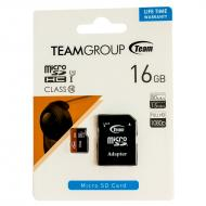 Карта памяти Team 16Gb microSD Class 10 UHS-1 + adapter (TUSDH16GUHS03)