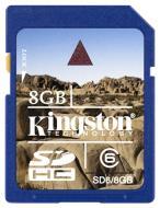 Карта памяти Kingston 8Gb SD Class 6 133x (SD6/8GB-U)
