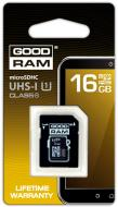 Карта памяти Goodram 16Gb microSD Class 10 + adapter RETAIL (SDU16GHCUHS1AGRR10)