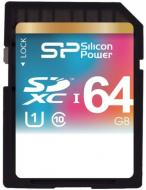 Карта памяти Silicon Power 64Gb SD Class 10 UHS-I (SP064GBSDXC10V10)