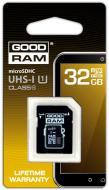 Карта памяти Goodram 32Gb microSD Class 10 UHS I + adapter RETAIL 10 (SDU32GHCUHS1AGRR10)