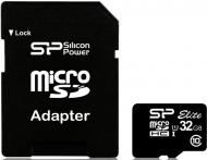 Карта памяти Silicon Power 32Gb microSD Class 10 UHS-I Elite + адаптер SD (SP032GBSTHBU1V10-SP)