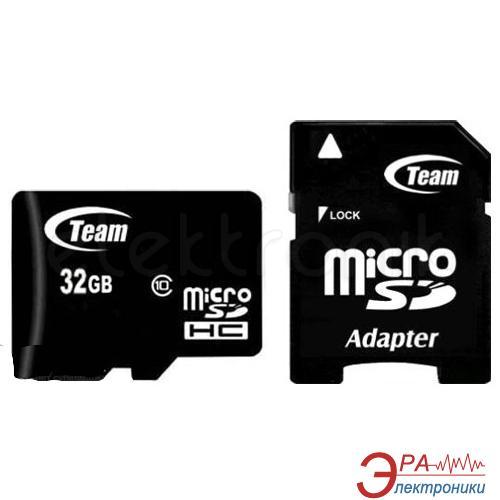Карта памяти Team 32Gb microSD Class 10 + SD адаптер (TUSDH32GCL1003)
