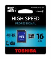 Карта памяти Toshiba 16Gb microSD Class 10 adapter SD UHS1 (SD-C016UHS1(BL5A)