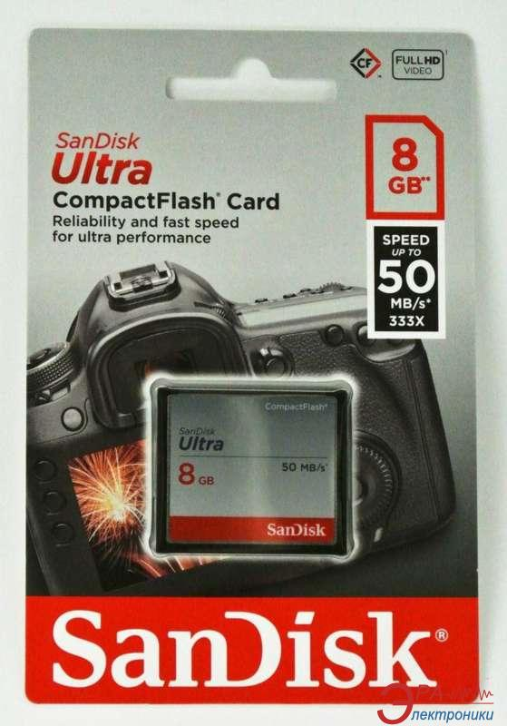 Карта памяти Sandisk 8Gb Compact Flash 333x Ultra (SDCFHS-008G-G46)