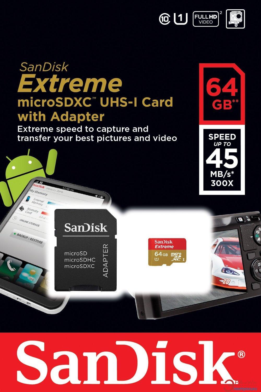 Карта памяти Sandisk 64Gb microSD Class 10 UHS-I (SDSDQXL-064G-G46A)