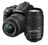 Зеркальная фотокамера Nikon D5100 Kit AF-S DX 18-55 VR + 55-300 VR Black