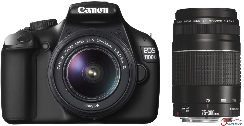 Зеркальная фотокамера Canon EOS 1100D TZ Kit (15-88 + 75-300) (5161B044) Black
