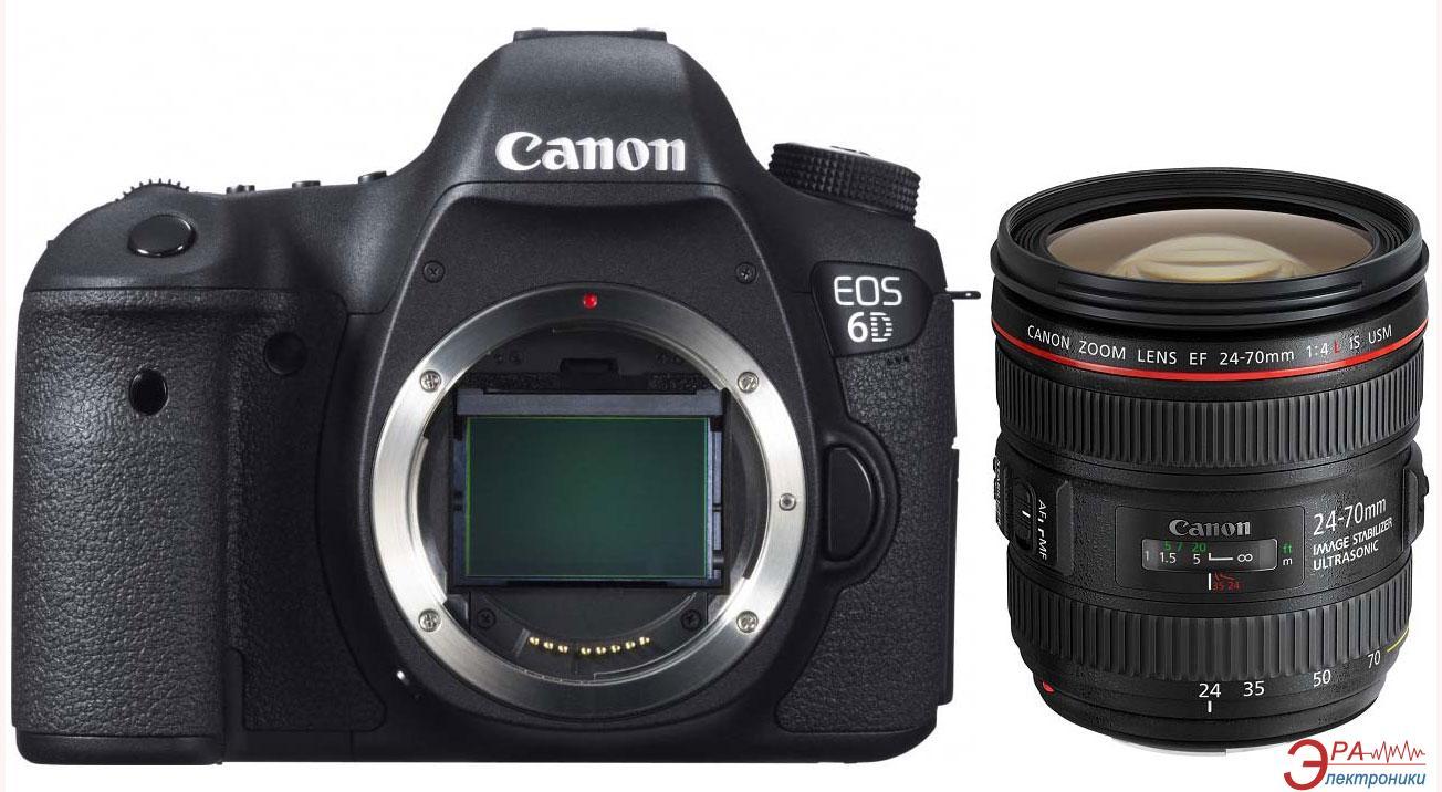 Зеркальная фотокамера Canon EOS 6D + объектив 24-70 IS c Wi-Fi и GPS (8035B040) Black
