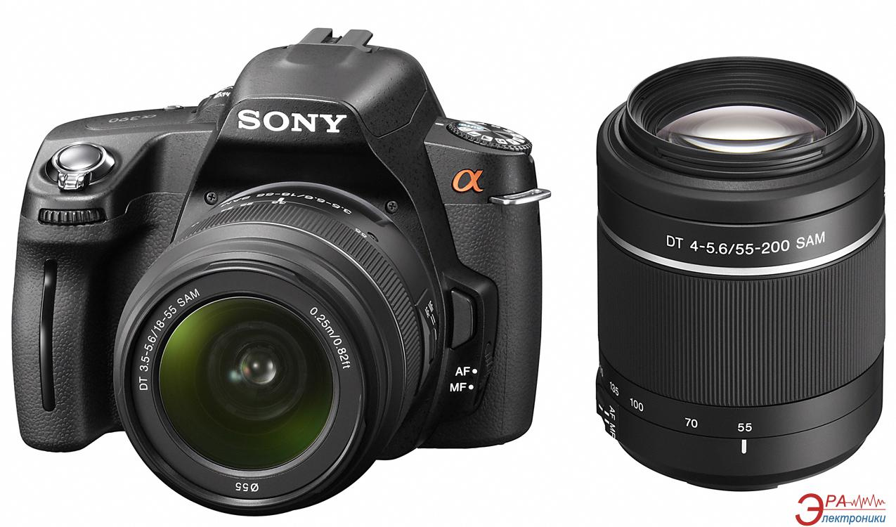 Зеркальная фотокамера Sony Alpha A390 + объективы 18-55 + 55-200 KIT (DSLRA390Y.CEE2) Black
