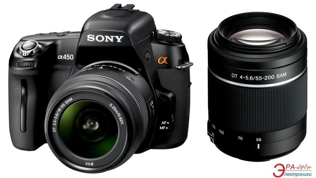 Зеркальная фотокамера Sony Alpha A450 + объективы 18-55 + 55-200 KIT (DSLR-A450Y) Black