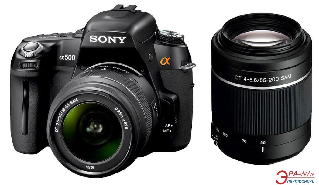 Зеркальная фотокамера Sony Alpha A500 + объективы 18-55 + 55-200 KIT (DSLR-A500Y) Black