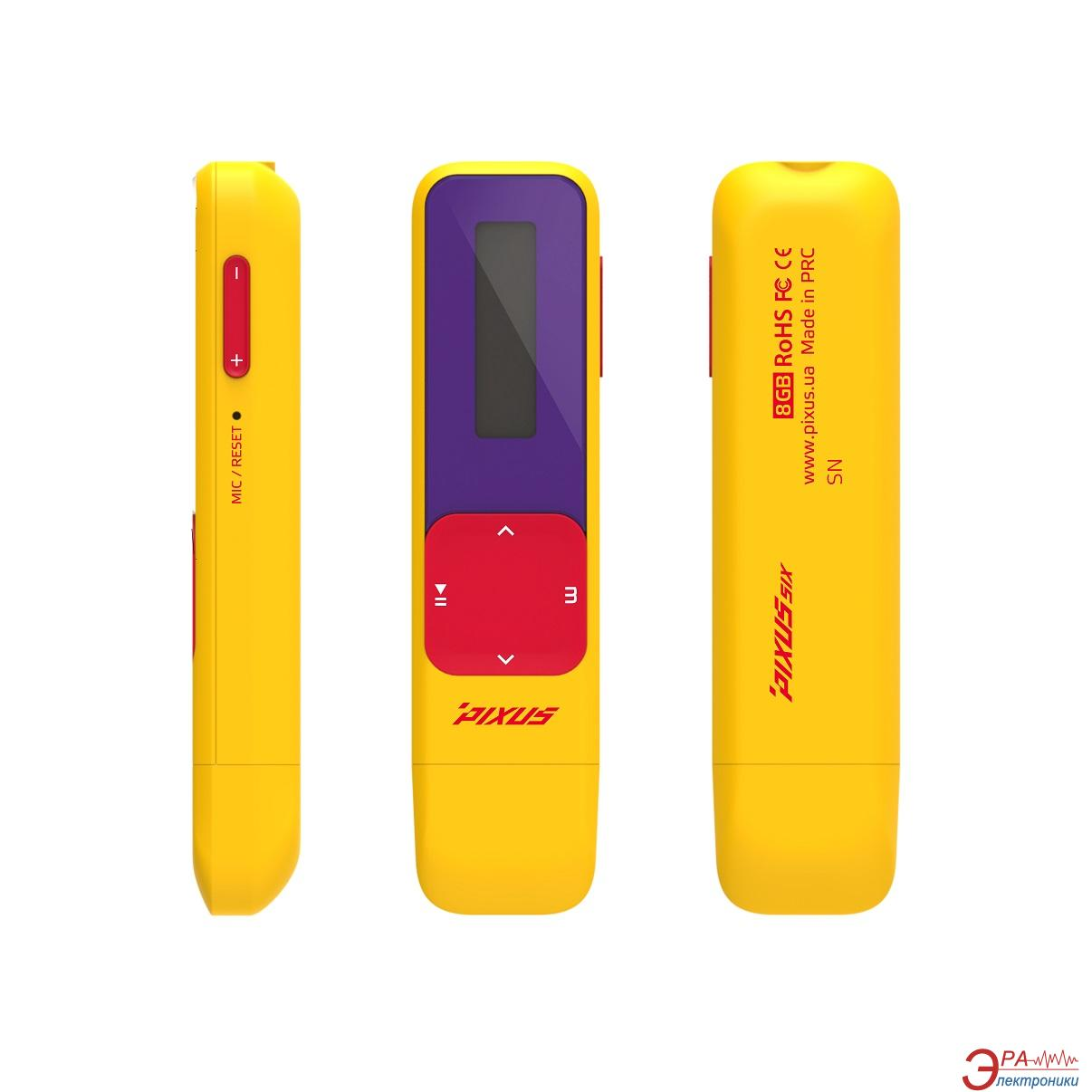 MP3 плеер Pixus SIX 8 Gb Yellow/Red